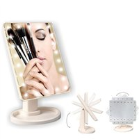 Wholesale Hot Sales LED Make Up Mirror Cosmetic Desktop Portable Compact LED lights Lighted Travel Makeup Mirror for Women Black White Pink