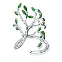 Wholesale Enamel Rings Adjustable - 925 Sterling Silver Tree Of Life Leaves Branch Ring handwork enamel design leaves Adjustable Wrap ring