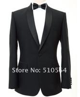 Wholesale Men Evening Suit Pants - Wholesale Free shipping Ceremony Evening Party Groomsman Bridegroom Tuxedos Dark navy wool custom made men Suits (jacket+pants)