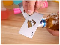 Wholesale Fashion Spades credit card bottle opener creative CARDS form stainless steel bottle opener card bottle opener magic cool Small gifts