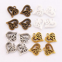 Wholesale Antique Pendants Fit Necklace - Flower Pattern Heart Charms Antique Silver Gold Bronze Pendants Jewelry DIY Fit Bracelets Necklace Earrings L919