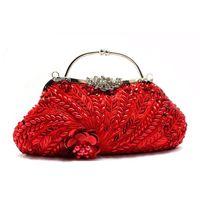 Wholesale Purple Satin Purse - Wholesale- 2015 Women Gold Clutch Appliques Designer Chain Handbags Purple Evening Purses Satin Dinner Bag Bridal Wallet Red mujer XA1022B