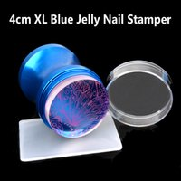 Wholesale New Xl Stamper Scraper - Wholesale- New Blue Metal Handle Nail Art Stamper Scraper Set XL 4cm Clear Jelly Silicone Head Polish Print Stencil DIY Stamping Tools