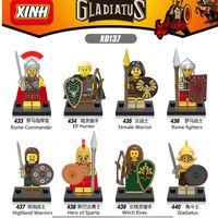 Wholesale Toy Warrior Knights - 8pcs lot x0137 Super Heroes Gladiatus figures Medieval Knights Rome Commander Elf Hunter Highland Warrior Building Blocks Toys