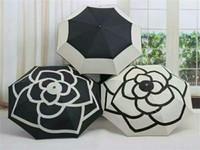 Hot selling Fashion Women 3 Fold Umbrella Automatic Camellia Flower Parasol Sunshade Rain UV Sun Umbrella for men & women Blooming camellia