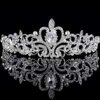Wholesale Cheap Birthday Crowns - Cheap Baroque Crystal Bridal Headpieces Crown Headbands Handmade Bling Major Beading Silver Rhinestone Women Tiaras Party Birthday Gowns