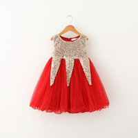 Princess Kids Girls Sequins Tutu Lace Dress Ruffles Mesh Gold Red и Pink Color Cute Baby Girls Holiday Party Dress Wholesale