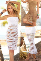 Wholesale Crochet Beachwear - Summer Dress 2017 Women Beach Dress Floatsuit Mesh Hollow Crochet Lace Dress Women Beachwear Beige Sun-proof Blouse
