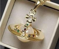 Wholesale Green Jade Circle Pendant - Mode VW bijoux Or couleur grand stéréoscopique perle Saturn collier