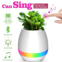 Music Flowerpot Smart Touch Music Plant Lampe Rechargeable sans fil Play Piano sur un réel Planteurs Music Box Bluetooth Speaker Night Light