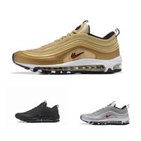 Wholesale Bullets Light - Metallic Gold 97 mens running shoes Silver Bullet black women outdoor athletic Air sports sneaker tennis shoes size 36-46