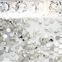 acessório jóias diy arte venda por atacado-1440 pçs / lote Nail Art Glitter Pedrinhas Branco Cristal Claro Flatback DIY Dicas Etiqueta Beads Prego Acessório de Jóias