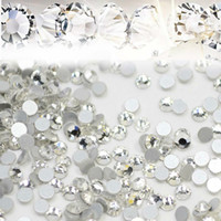 Wholesale Nail Art Beads - 1440pcs lot Nail Art Glitter Rhinestones White Crystal Clear Flatback DIY Tips Sticker Beads Nail Jewelry Accessory