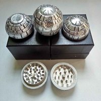 Wholesale Death Stars - 3 layers Death Star Wars Grinders Diameter 55mm Zinc Alloy Metal Herbal Grinder Round Ball Tobacco Muller with gift box vs Pokeball Grinders