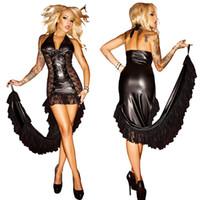 Wholesale Stripper Mini Dress - Black Sheer Lace Long Dress Faux Leather Lace-up Halter Mermaid Dress Women Sexy Stripper Dancing Clubwear