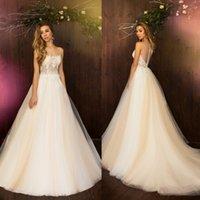Wholesale Daria Wedding Dress - Illusion Daria Karlozi Wedding Dresses China Free Shipping Sheer Neckline Appliques Beads Sweep Train Custom Made Wedding Gown