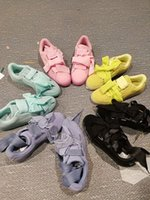 Wholesale Golf Candies - New Womens Rihanna Basket Suede Heart Bandana Bow Candy Colors Sneakers Brand Ladies Riri Pink Yellow Blue Black Purple Shoes 36-39