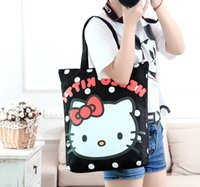 Wholesale Hello Handbags - Wholesale Kawaii Hello Kitty Canvas Shopping Bag 30*38*8CM Cute Cartoon Women Zipper Handbag Kids Christmas Gifts