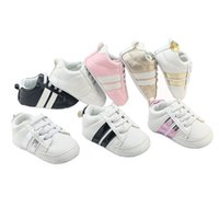 Wholesale Baby Branded Shoes Wholesale - New baby infant anti-slip PU Leather first walker soft soled Newborn 0-1 years Sneakers Branded Baby shoes 10pairs lot