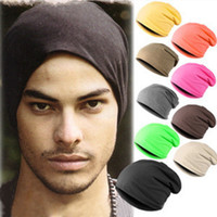 Wholesale Skull Head Candy - Candy color solid polyester unisex hat head set Korean men women tide turban hat knitted cap street dance Skullies Beanies