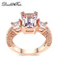 Hot Sell Big Imitation Crystal 18K Rose / White Gold Rings Plated Venda Por Atacado CZ Diamond Full Size Jóias para Mulheres DFR332 / DFR343