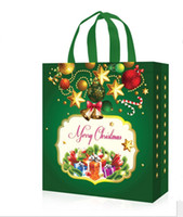 Wholesale Holiday Gift Paper Bag - Non-Woven Holiday Gift Bags Reusable Christmas Gift Handbag Holders Tote XMAS Party Favor Bag present wrap Large festive supplies