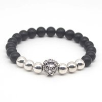 Wholesale Crystal Buddha Head - Wholesale Gold Plated Buddha Leo Lion Head Bracelet Black Matte Stone Beaded Bracelets For Men Women Pulseras Hombre