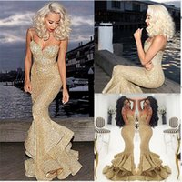 Wholesale great dresses - Gold Sequins Mermaid Prom Dress 2017 Formal Evening Party Gowns Sparkle Great Gatsby Dress Sweetheart Sexy African Girls Gowns