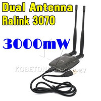 rango de antena inalámbrica al por mayor-2016 inalámbrico Beini Internet inalámbrico de larga distancia 3000mW Wifi doble antena Blueway USB Wifi adaptador decodificador Ralink 3070 BT-N9100