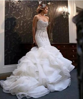 Wholesale Beaded Bling Wedding Dresses - 2018 New African Mermaid Wedding Dresses Plus Size Bling Crystal Beaded Court Train Bridal Gowns Organza Ruffles Tiered Skirt Bridal Dress