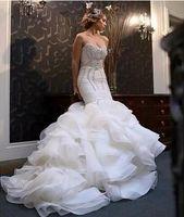 Wholesale Sweetheart Mermaid Bling Wedding Dresses - 2018 New African Mermaid Wedding Dresses Plus Size Bling Crystal Beaded Court Train Bridal Gowns Organza Ruffles Tiered Skirt Bridal Dress