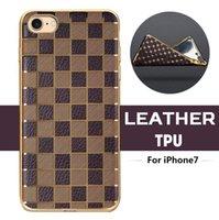 Wholesale Soft Tpu Silicone Back Case - Royal Slim Ultra Thin Grid Diamond Plating Electroplate Gilded Leather TPU Silicone Soft Back Case Cover Skin For iPhone 7 Plus MOQ:10pcs