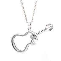 ingrosso collana della catena del serpente d'ottone-Unica figura della chitarra della collana della catena 925 di vetro galleggiante Charm Medaglioni Living Foto Memery Charm Medaglioni Pendant