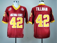 Wholesale Mens Cap Sizes - Arizona State Sun Devils College Jersey 42 Pat Tillman American ASU mens Retro Football Jerseys red size S-XXXL