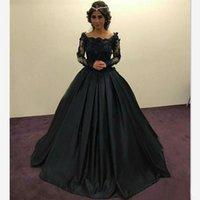 kızlar siyah akşam elbiseleri toptan satış-Omuz Kapalı Uzun Kollu Balo Gelinlik Modelleri Akşam Elbise Için Siyah Kız Dantel Parti Balo Abiye