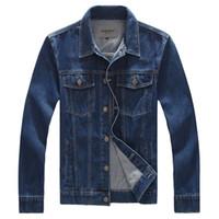 Wholesale Men 8xl - Wholesale- 2017 Spring New 8XL Plus Size Mens Jacket Denim Jeans Outwear Blue Men's Vintage Jeans Jacket Male Jeans Jacket Overcoat , PA021
