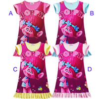 Wholesale Princess Pajamas - 4 Color Girls Trolls Poppy Branch princess dress New Children trolls Flower cartoon short sleeves Pajamas dresses Kids clothes B001