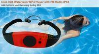 Wholesale mp3 waterproof swimming surfing - Wholesale Sport music 8GB memory underwater MP3 Player radio FM head wearing MP 3 Players Diving swim surfing sports Super waterproof IPX8