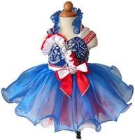 hacer vestidos de tutu para niños pequeños al por mayor-Las niñas por encargo Halter Glitz desfile Cupcake Dresses Infantil niños Mini Short Party Gowns Niñas Tutú Vestidos del desfile
