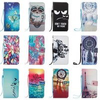 Wholesale Eiffel Tower Wallets - Eiffel Tower Owl Butterfly Skull Wallet Leather Case for Samsung Galaxy A3 A5 2017 J3 J5 J7 prime Huawei mate9 p9 lite 2017