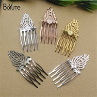 Wholesale red jewelry combs for sale - Group buy BOYUTE Pieces mm HOT Sale Filigree Flower Hair Comb Colors Plated Women Hair Jewelry
