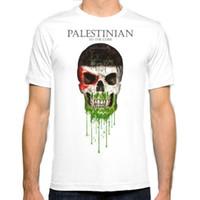 Wholesale mens flag t shirt - Palestine Skull flag New Fashion Man T-Shirt Cotton O Neck Mens Short Sleeve Mens tshirt Male Tops Tees Wholesale