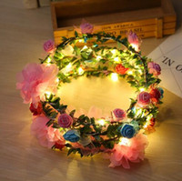 Wholesale Wholesale Wreaths Supplies - Fashion Women LED Roses Floral Headbands Glowing Light-up Flower Hair Garland Wreath Party Wedding Supplies Floral Crown Garland KKA2686