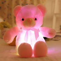 Wholesale Wholesale Valentine Stuff - 50cm Luminous Teddy Bear Cute Shining Bear Plush Toys Baby Light Up LED Teddy Bear Stuffed AnimalsToys Birthday Gifts Valentines free DHL