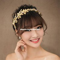 Wholesale pearl headbands for wedding - MHS.SUN Wholesale gold color leaves shape hairband for wedding party jewelry bridal pearls tiara headband 1pc lot Wholesale!!