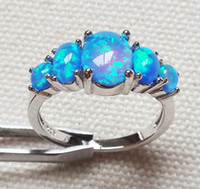 Wholesale Blue Sapphire Opal Ring - 2017 summer selling European and American jewelry 925 silver blue fire Opal anniversary ring sapphire ring