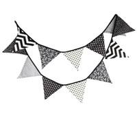 черные белые флаги оптовых-Wholesale- New 12 Flags - 3.2M Cotton Fabric Banners Black White Bunting Decor Camping Garland Birthday Party Decoration garden bunting