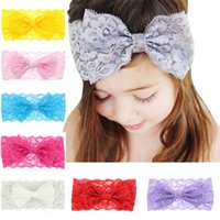 Wholesale Lace Flowers For Headbands Vintage - Baby Hair Accessories Lace Bows Flower Headbands for Girls Infant Big Bow Elastic Hairbands Childrens Vintage Head Wrap Party Headdress