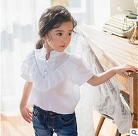 Wholesale White Short Puff Sleeved Blouse - Girls shirt 2017 summer new children big falbala stand collar princess tops girls puff sleeve white blouses kids cotton clothes T2256