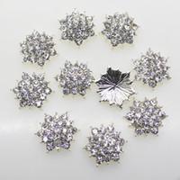 Wholesale Hair Spikes - 50pcs 17mm Hexagonal Metal Rhinestones Silver Button Diy Hair Accessory Wedding Invitation Decoration